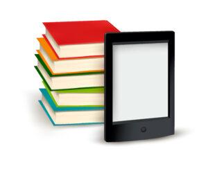 Bild Bücherstapel und E-Book-Reader