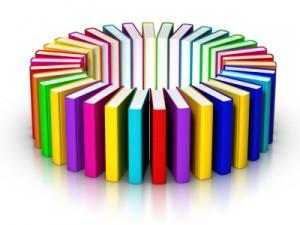 Foto mit Büchern im Kreis