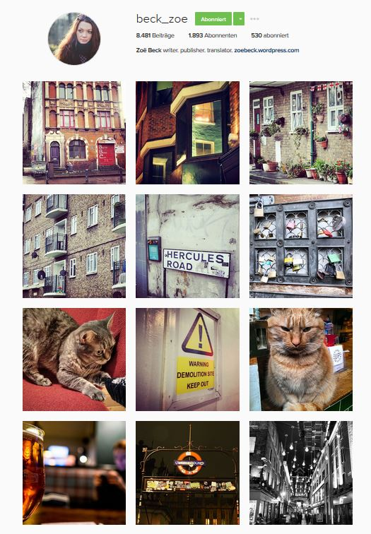 Screenshot Instagram_Account Zoë Beck